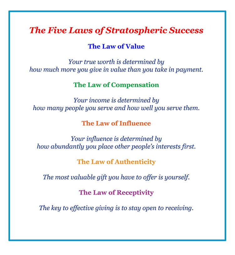 The go giver 5 laws of stratospheric success