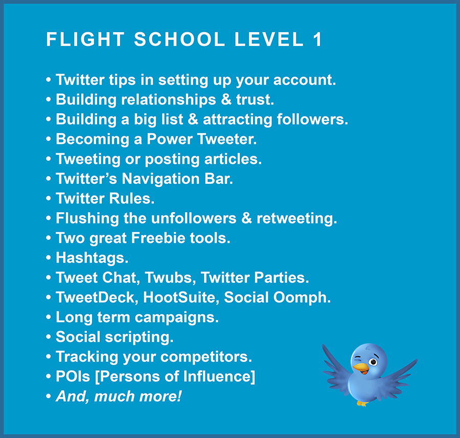 Twitterverse Flight School 1 Bulleted List
