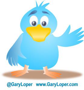 TWITTER BIRD with garys website