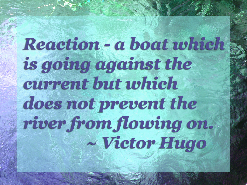 Reaction - a boat which is going against the current but which does not prevent the river from flowing on ~ Victor Hugo