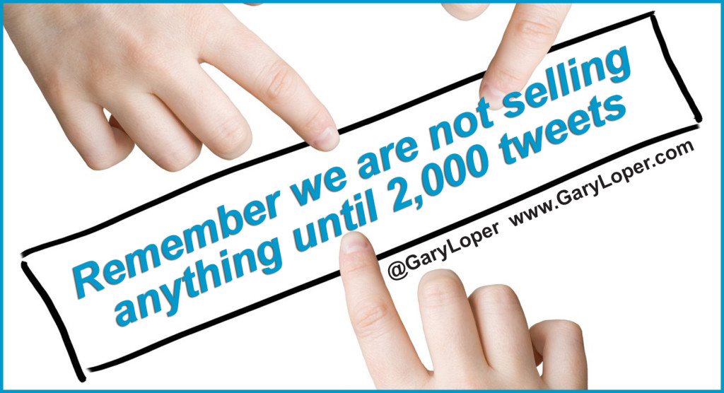 Remember we are not selling anything until 2,000 tweets