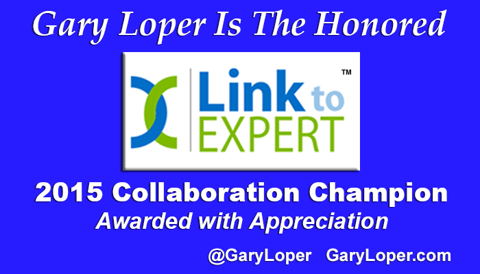 Link to EXPERT Collaboration Champion for 2015 Award Goes to Gary Loper